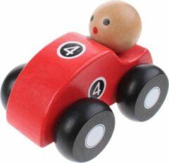 Jouéco houten raceauto rood 10 cm