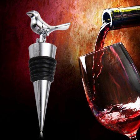 Afbeelding van Roestvrijstalen AA Commerce Stijlvolle RVS Wijnstopper - Flessenstop / Wijnstop Voor Wijn - Wijnflesafsluiter