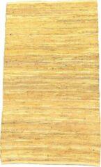 Rocaflor Vloerkleed recycled leer geweven okergeel 160x230cm