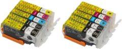 KATRIZ huismerk inkt voor Canon 2X PGI570XLBK + 2X CLI571XLBK + 2X CLI571XLCyaan + 2X CLI571XLMagenta + 2X CLI571XLGeel (10stuks) - Met chip