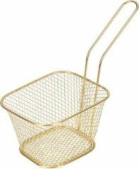 Goudkleurige Merkloos / Sans marque Patat/snack serveermandje/frituurmandje goud 9 x 11 x 6,5 cm - Tafeldecoratie - Patat/snack serveren in een mandje