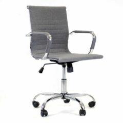 Breazz Manhattan Low Fabric - Bureaustoel - Lichtgrijs - stoffen zitting met chroom onderstel