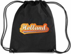 Bellatio Decorations Holland rugzakje - nylon sporttas zwart met rijgkoord - Nederland/oranje supporter - EK/ WK voetbal / Koningsdag