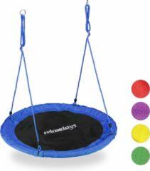 Relaxdays Nestschommel - vogelnestschommel - buiten schommel- 110 cm - kinderschommel blauw
