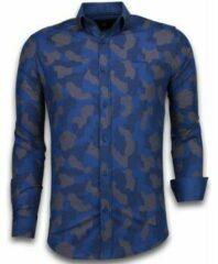 Tony Backer Italiaanse Overhemden - Slim Fit Overhemd - Blouse Dotted Camouflage Pattern - Blauw Casual overhemden heren Heren Overhemd Maat 3XL
