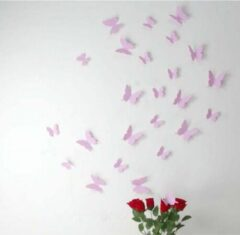 Merkloos / Sans marque 3D vlinder muurstickers - set van 12 - Roze