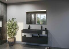 Zilveren Glaskoning.nl Spiegel met LED verlichting   100x80 cm   GLOW