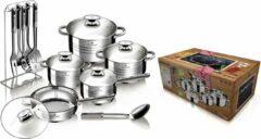 Zilveren Blaumann 17-delige Jumbo van roestvrijstaal pannenset gourmetlijn BL-3133-1