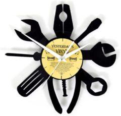 Zwarte Yesterdays Vinyl Lp-wandklok met gereedschap - vinyl klok 12 inch - 27 CM