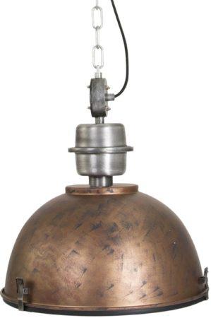 Afbeelding van Bruine Steinhauer Industriële hanglamp antiek goud met blank staal - Gospodin