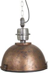 Bruine Steinhauer Industriële hanglamp antiek goud met blank staal - Gospodin