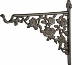 Bruine Esschert design Muurhaak met rozendecoratie - 25 cm