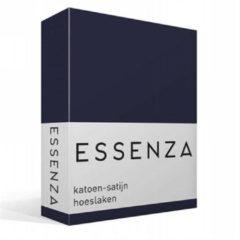 Donkerblauwe Essenza Satin hoeslaken van katoensatijn, hoekhoogte 30 cm