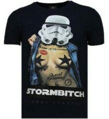 Local Fanatic Stormbitch - Rhinestone T-shirt - Blauw Stormbitch - Rhinestone T-shirt - Blauw Heren T-shirt Maat XL
