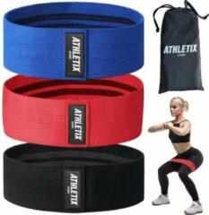 Rode Athletix® - Weerstandsbanden Set - 3 Sport Elastiek Banden - Met Gratis Draagtas - Hip bands - 3 Resistance Bands - Fitness Fitnessband