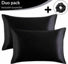 Simply Cosy Satijnen Kussensloop Beauty Anti Allergeen - Huidverzorging - Haarverzorging - Zwart - 60 x 70 – 2 Stuks