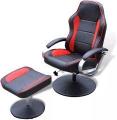 Vidaxl Tv-fauteuil Met Voetensteun Verstelbaar Kunstleer Zwart/rood