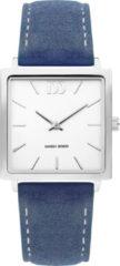 Zilveren Danish Design watches edelstalen dameshorloge Miami Silver Royal Blue Suede IV22Q1248
