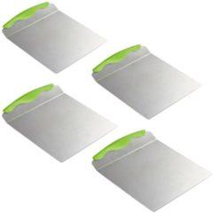 Zilveren Relaxdays 4 x taartschep edelstaal - taartplaat - vierkant - groot - met handvat - 20 x 24