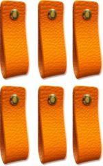 Brute Strength Leren handgrepen - Oranje - 6 stuks - 16,5 x 2,5 cm | incl. 3 kleuren schroeven per leren handgreep