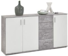 FD Furniture Dressoir Albi 160 cm breed in grijs beton met wit