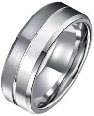 Tom Jaxon wolfraam Ring Groef Mat en Glans Zilverkleurig-18mm