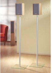 2x Surroundstand 'Sulivo Maxi' | Alu Halterung Glas Standfuss Boxenständer Lautsprecher Ständer VCM Klarglas
