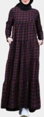 Rode ZANZEA Ethnic Plaid Print Pocket Maxi Dress