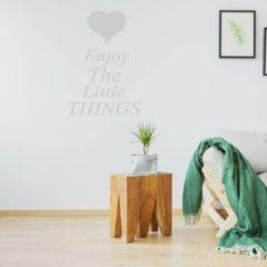Merkloos / Sans marque Muursticker Enjoy The Little Things - Zilver - 100 x 140 cm - woonkamer slaapkamer engelse teksten - Muursticker4Sale