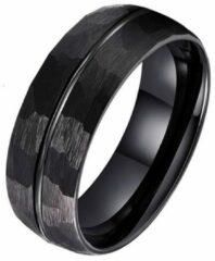 Tom Jaxon wolfraam Ring Facet Groef Mat Zwart-21mm