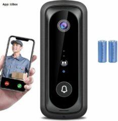 Zwarte DrPhone UB1 WiFi-videodeurbel - 1080p HD-video - Bewegingsgeactiveerde waarschuwingen -2-weg audio- nachtzicht - IP65 waterdicht