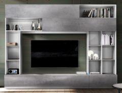 Pesaro Mobilia Tv-wandmeubel Tiko 277 cm breed in wit met grijs beton