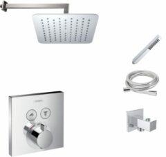Hansgrohe + Mueller Hansgrohe Shower Select inbouw douchekraan met Mueller Cube 20cm douchekop en wandarm regendouche chroom