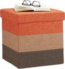 Rode Relaxdays gepolsterde zitkruk met opslagruimte - driekleurig - zitkubus - kruk opvouwbaar C