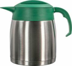 Isoleerkan EasyClean 1,2 liter rvs met groen kunststof dop en handgreep