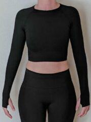 Merkloos / Sans marque Naadloos vestje voor fitness, yoga, gym - Zwart - Maat S
