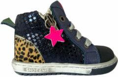 Blauwe Shoesme zilveren eerste loopschoenen met panterprint (EF9W024-A)....