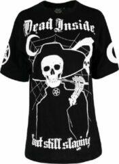 Restyle Dames Tshirt -S- Dead inside but Still Slaying Oversized Zwart