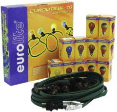 Zwarte EUROLITE Feestverlichting – Prikkabel – lichtsnoer – 10x E27 – inclusief lampen – 10m – Binnen & Buiten