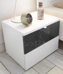 Antraciet-grijze Pesaro Mobilia Nachtkastje Perez 42 cm hoog in mat wit met hoogglans antraciet