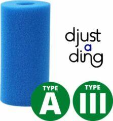 Blauwe Type A / III Filter Zwembad Herbruikbaar - Geschikt als Zwembad Filter Intex of Bestway - Zwembad Onderhoud Filtercartridge - Djust A Ding