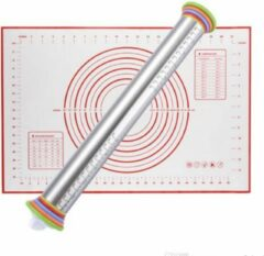 Aluminum Verstelbare Deegroller - Inclusief Deegmat 60 x 40 cm - KELERINO. - Rood