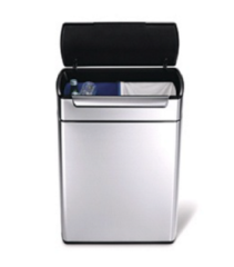 Zilveren Simplehuman Rectangular Brushed Steel Touch Bar Recycler Bin 48L