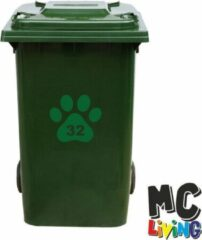 MC Living Kliko Sticker / Vuilnisbak Sticker - Hondenpoot - Nummer 32 - 18x16,5 - Groen