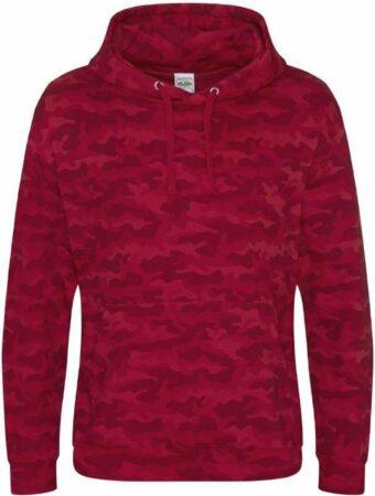 Afbeelding van Rode AWDis Hoods Camo hoodie, Kleur Red Camo, Maat XS