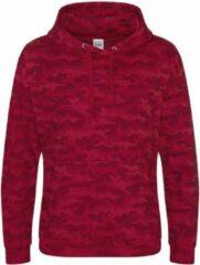 Rode AWDis Hoods Camo hoodie, Kleur Red Camo, Maat XS