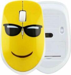 Gele WiseGoods - Premium Stille Draadloze Muis - Ultradunne Ergonomische Muis met Cool Emoji Print - Laptop en PC