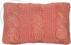 Rocaflor kussen gebreid kabelpatroon koraal roze 50x30cm