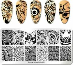 Roestvrijstalen Ardran & Tookar Nail Art Stempel plaat - French manicure - nagellak acryl - Afrika dieren Sjabloon