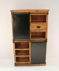Bruine BELFURNID Belfurn - Iron - Combikast 110 cm i n mango hout met zwart metalen schuifdeuren